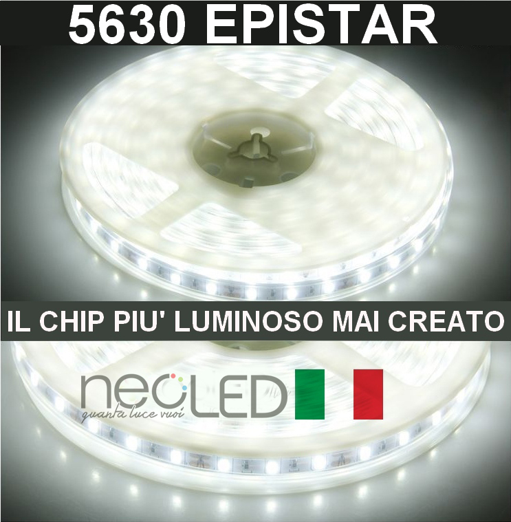 Led strip 5630 luce fredda 6000k 5m 300led la striscia piu for Luce led striscia