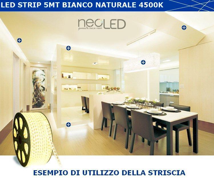 Striscia led strip luce naturale 4500k 5m 5050 300 led - Meglio luce calda o fredda in cucina ...